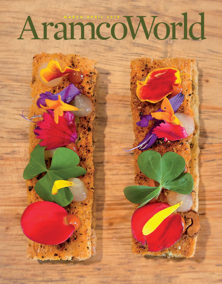 Cover of Aramco World magazine, showing a photograph of an haute cuisine starter