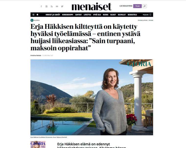 Screengrab of Finnish magazine Gloria's web page showing feature article text and portrait of Erja Hakkinen beside her swimming pool