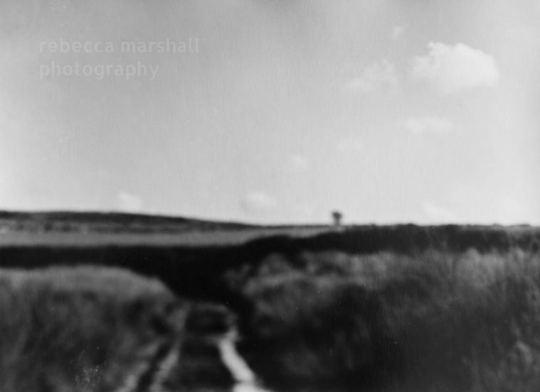 Out of focus black and white photograph of an empty landscape