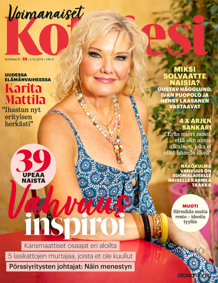 Page layout of cover of Kotiliesi, Finnish women's magazine, showing portrait of Karita Mattilia