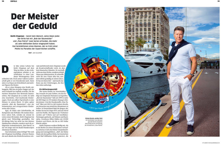 Double page spread of German magazine WirtschaftsWoche, showing text, photography and animation