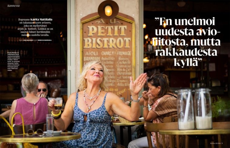 Double page magazine spread showing woman singing on the terrace of a French bistro