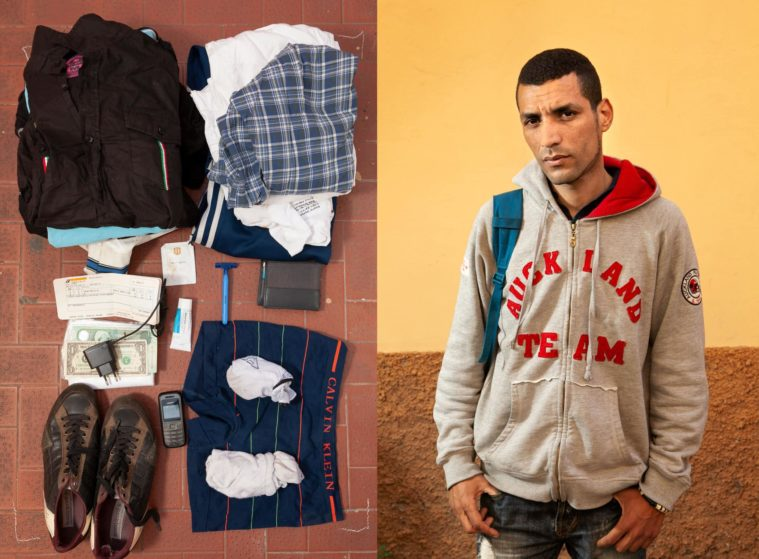 Diptych of two photographs: a portrait of a man standing in front of a yellow wall and a picture of a few personal posessions, clothes, shoes, a razor, phone and a charger, on the ground